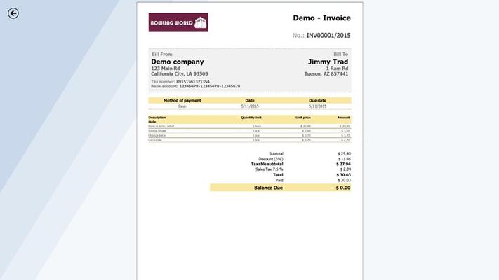 Invoice preview