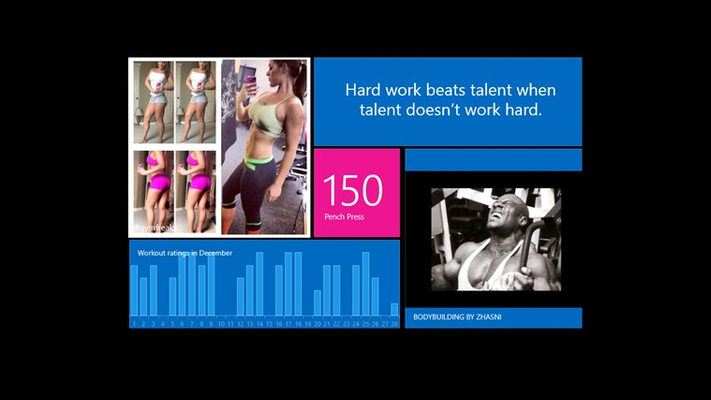 Main page of Gym Freaks. Click the live tiles!