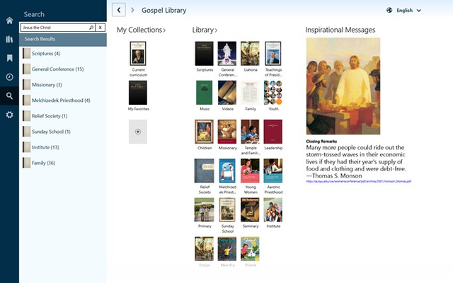 Search your downloaded library quickly and intuitively. Results grouped by category.