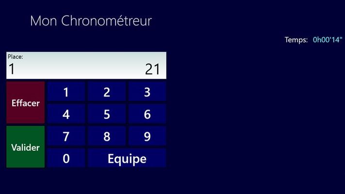 Le chrono est démarré et l'on peut encoder les résultats via le clavier virtuel