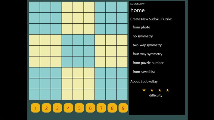 Home screen for selecting type of puzzle to generate.