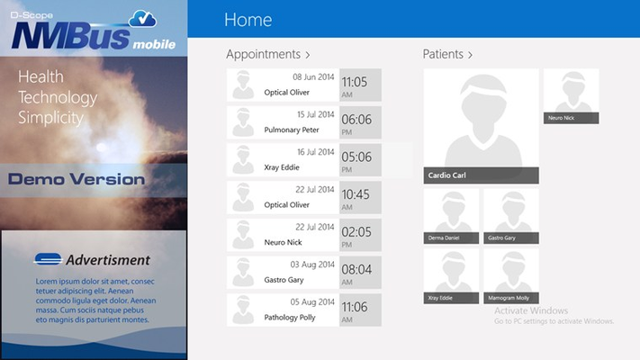 Home screen allows easy access to information about future encounters and patients