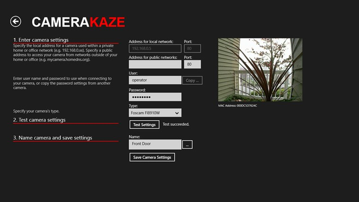 Simple setup including the ability to copy user name and password from another camera.