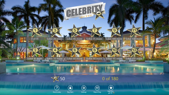12 different levels containing 180 celebs!