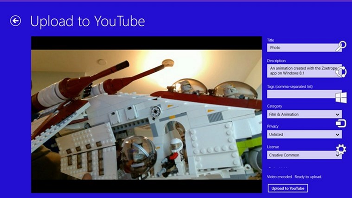 Upload animations to YouTube directly from Zoetrope.
