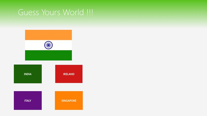 This is First Screen of game  . Player select flag from the options given below . Game proceeds for every correct answer