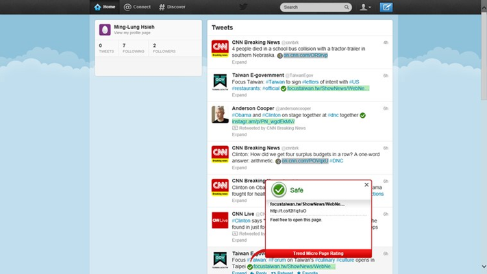 Trend Micro SafeSurfing provides safety ratings for websites shown on popular social networking sites like Twitter.