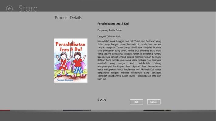 Setiap buku yang terdapat di Aplikasi Toko Buku dilengkapi dengan preview sebelum membeli berupa sinopsis pendek dari masing-masing cerita.