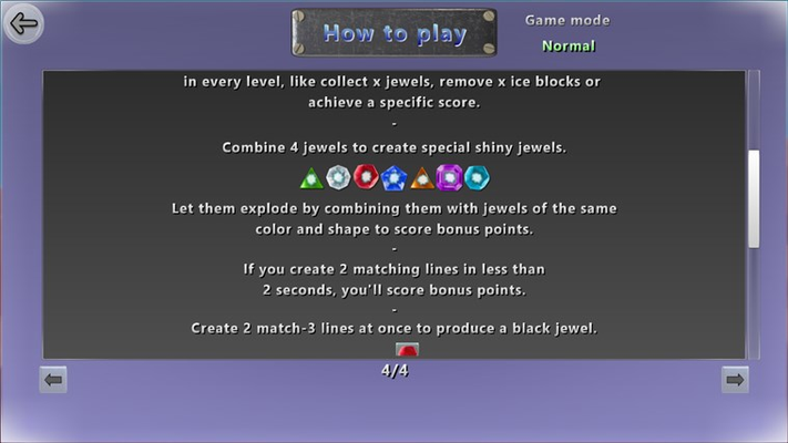 Instructions screen