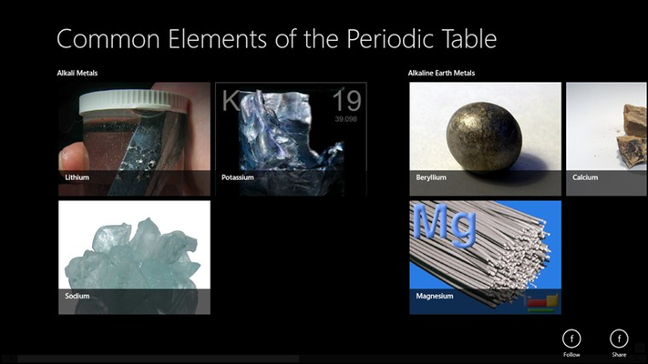Overview of comon element on the periodic table that we may come across everyday, with accessible features on the app bar