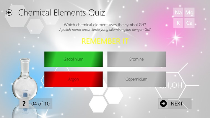 Quiz page when answered incorrectly