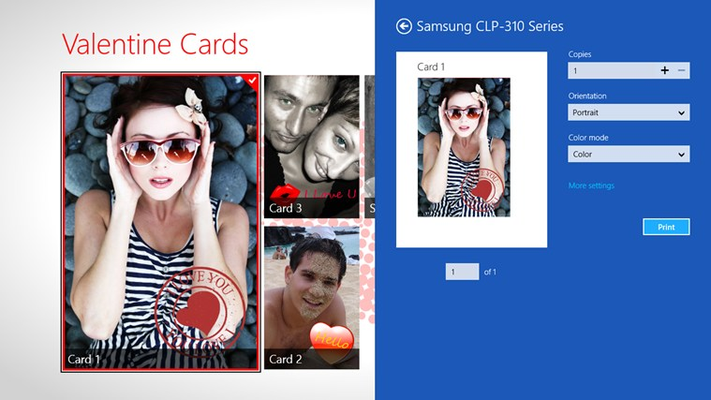 Print your cards using the Windows Devices charm