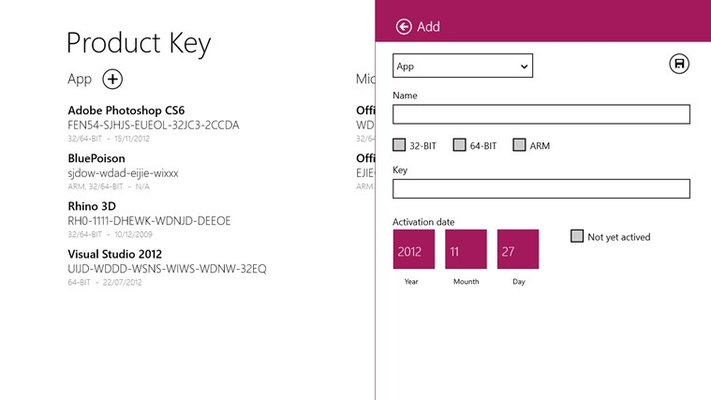 Menu to add a new product key.