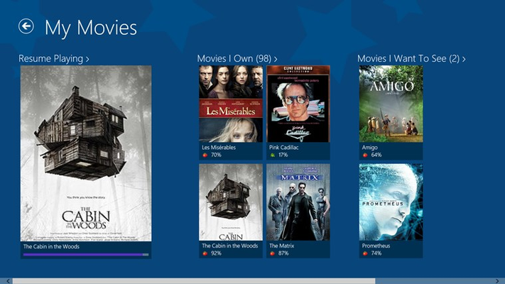 Browse and watch your personal movie collection.