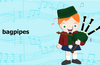 Learn to recognize the names and sounds of music instruments from around the world