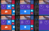 Medium, wide, and large live tiles displaying analog clock