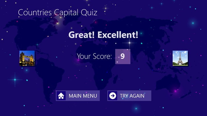 Result page shows quiz result