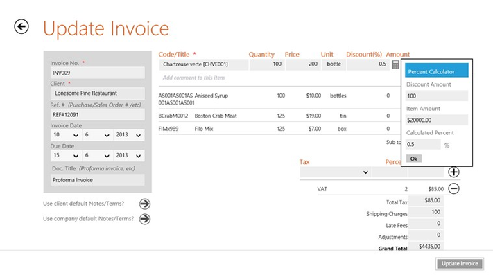 Create/Update invoice with percent calculator for discount.