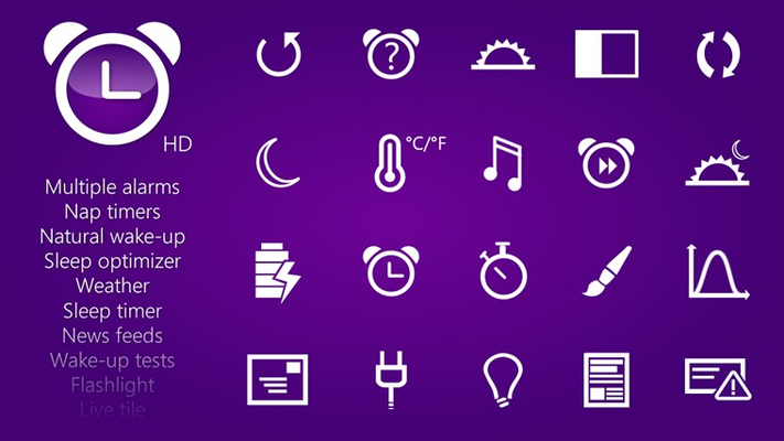 HD Alarm Clock is an highly customizable full-featured alarm clock app