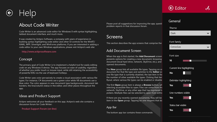 Code Writer for Windows 8