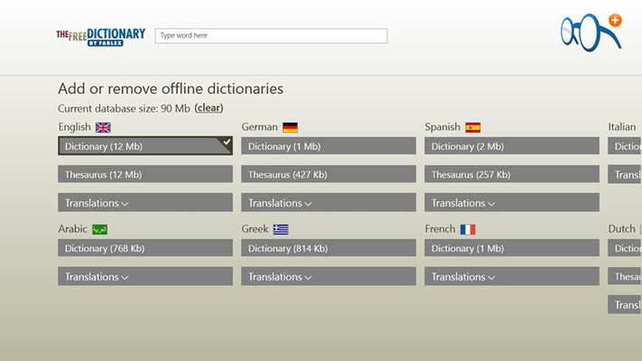 14 offline dictionaries, plus thesauri and dozens of translations options to download.