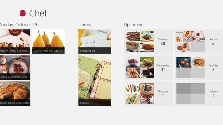 Plan your week right in the Chef home experience. Select an upcoming day to add recipes.