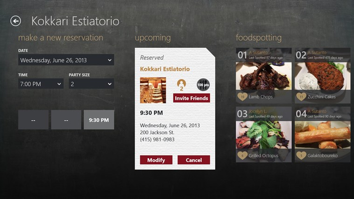 OpenTable for Windows 8