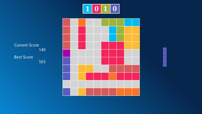Place the blocks on the screen and form complete lines horizontally or vertically.