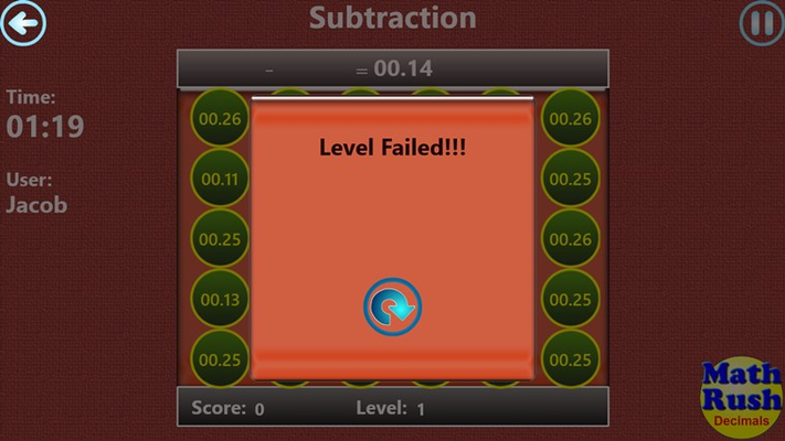Level failed message