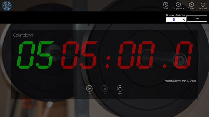 Countdown timer with warmup counter
