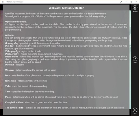 WebCam: Motion Detector for Windows 8