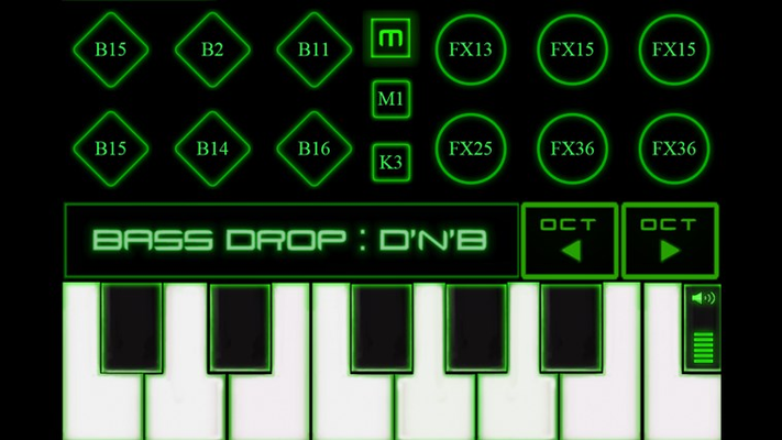 The keys screen mixes a keyboard synthesizer with 12 editable touch pads