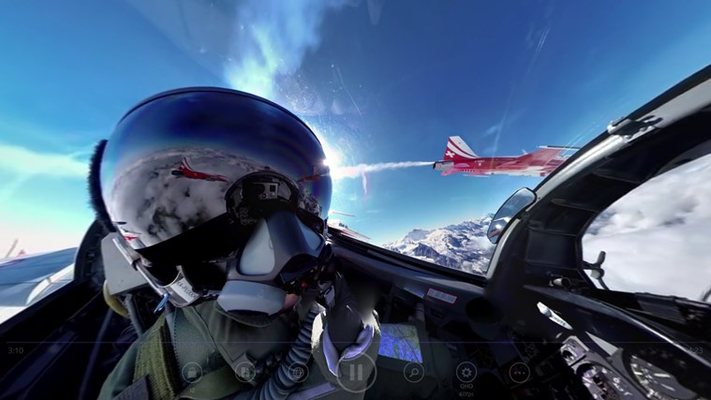 Watch an airplane pilot by controlling the video camera.