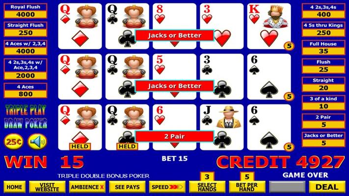 Triple Play Draw Poker Winner