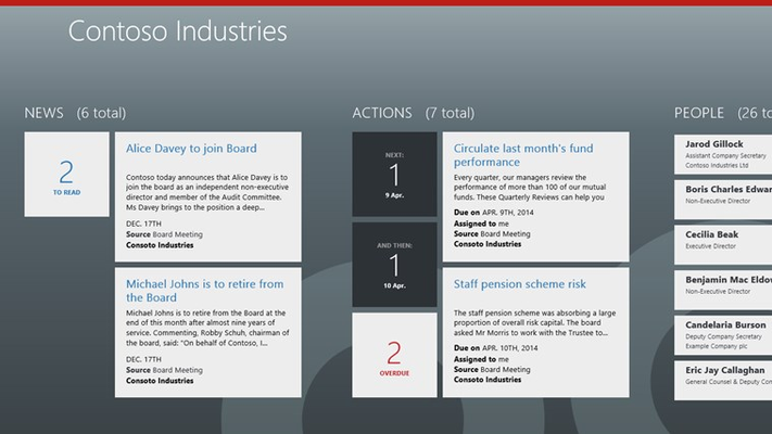 The latest news, follow-up actions and contact details of other board members are available from the Home screen.