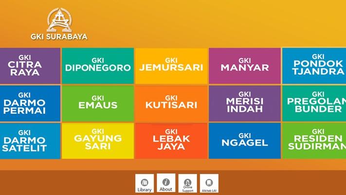 Aplikasi GKI Surabaya disediakan untuk mewartakan info gereja dan berbagai kegiatan di Gereja GKI di seluruh Surabaya, dan yang telah di bagi dalam tiap kategori sesuai gereja yang ada.