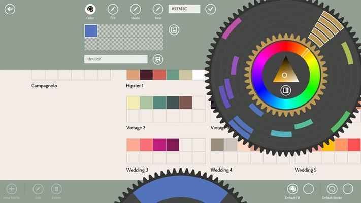 Powerful color palette creator with basic color models, hex color input, and the ability to pick colors from an image.