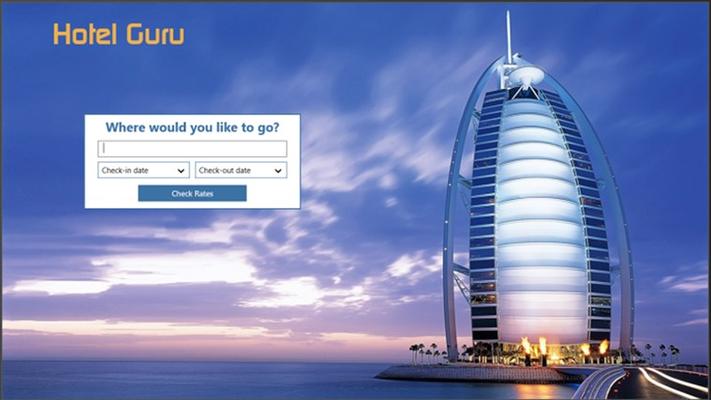 Home screen of Hotel Guru Search app.