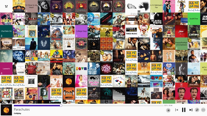 Beautiful & unique wall layout of all your music albums.