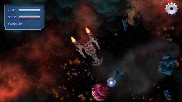 Build your ship up to become a formidable battlecruiser to take down the AI fleet!