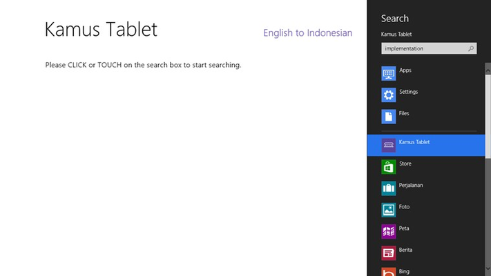 Invoke Kamus Tablet through Search charm will lead you to the search page.