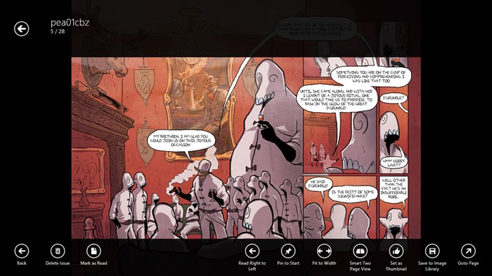 A comic pageview with the appbars open