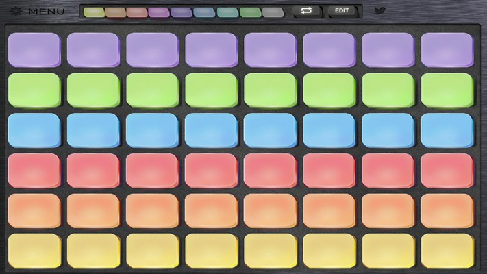 The sound pads are arranged in a grid to provide quick access for jamming ideas or creating electronic sounds.