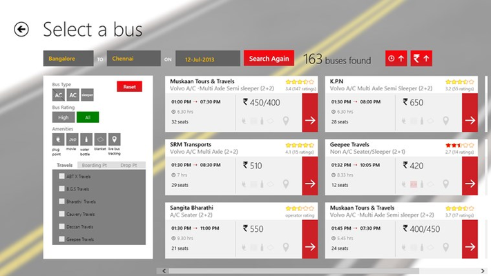 Bus list page with filters