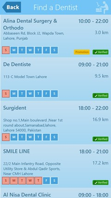 List of nearby dental clinics.