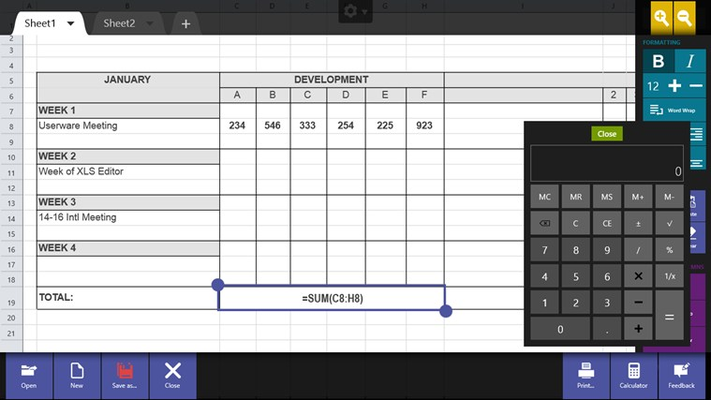 XLS Editor lets you create, view, edit, and save Excel spreadsheets (XLS/XLSX).
