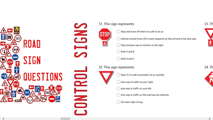 Learners Licence Quiz app Control Signs Questions