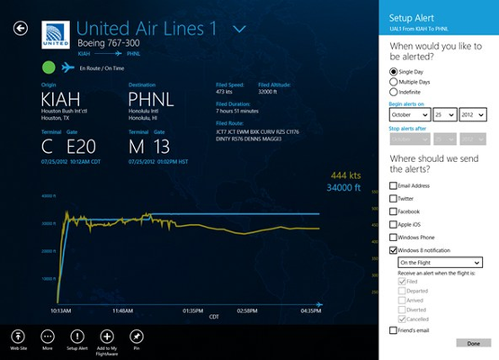 Create alerts to notify you of flight activity.