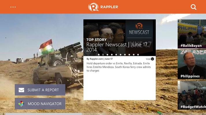 Rappler Home page