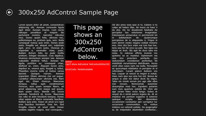 Sample for AdControl error handling